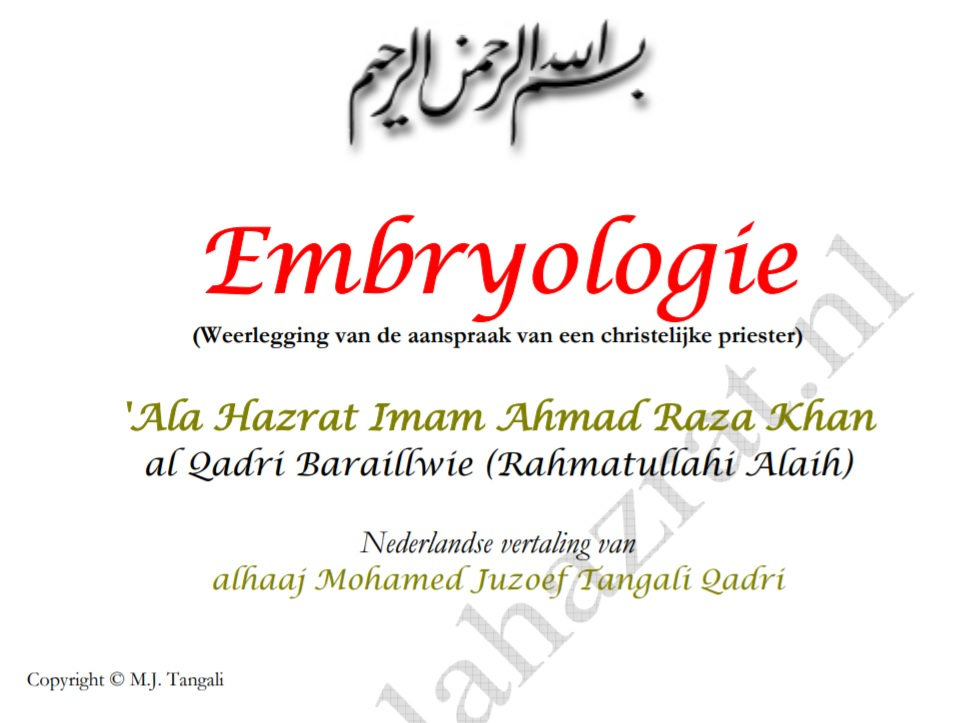 Embryologie weerleggin van de aanspraak van een christelijke preister